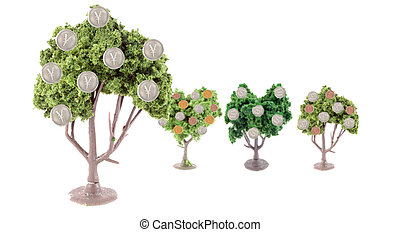 strong Yen exchange - small miniature forest growing copper...