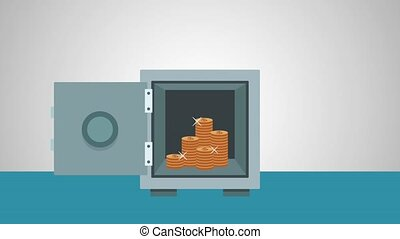 Money inside strongbox open High Definition animation colorful scenes