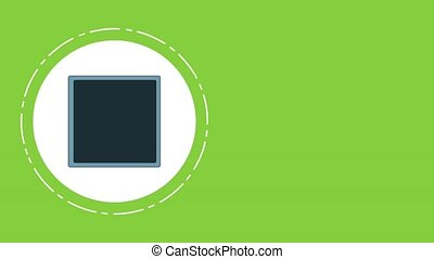 Money inside strongbox round icon over green background High Definition animation colorful scenes