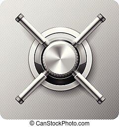 strongbox, -, puerta, cámara acorazada, válvula, seguro, manija, rueda, rotatorio