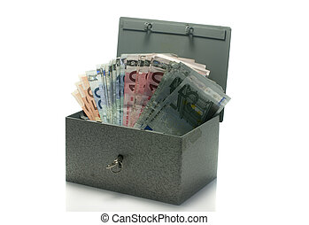 strongbox with euro money