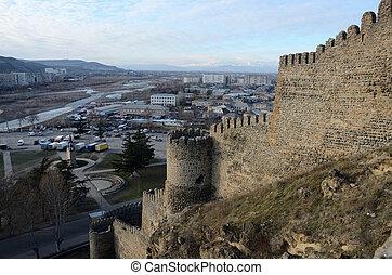 stronghold, cidade, idades, goristsikhe, fortaleza, meio,...