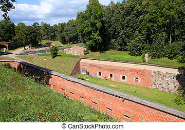 Stronghold - Old brick Boyen fortress in Gizycko, Poland.