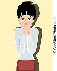 strongly surprised person, vector cartoon portrait