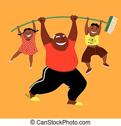Strongman grandpa working out - Energetic African-American...