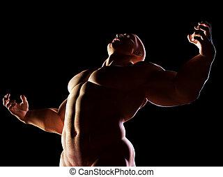 Strongman, hero showing his muscular body in winner, alpha...