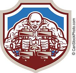 Strongman Lifting Dumbbells Shield Retro