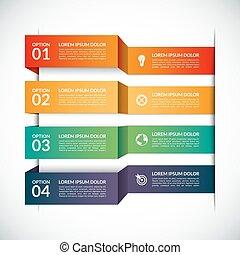 strony, infographic, 4, szablon, kroki, opcje