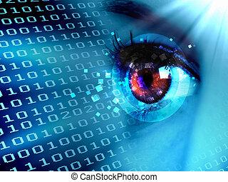 stroom, van, digitale , data, en, oog