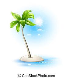 strovok, tropicale, con, palma