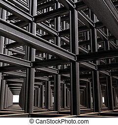 Structural abstract of intersecting steel beams in a 3D matrix