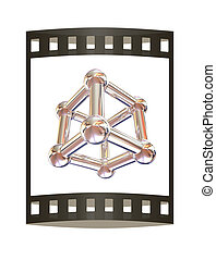 Structural chemical formula and model of molecule, 3d object illustration isolated on the white backgrpound.. The film strip.