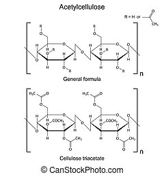 Structural chemical formula of  acetyl cellulose polymer