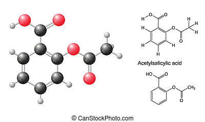 Structural chemical formulas and model of acetylsalicylic...