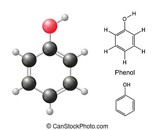 Structural chemical formulas and model of phenol molecule, 2d & 3d Illustration, isolated on white background, balls & sticks, skeletal, vector, eps 10