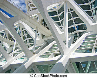 Structural details of a contemporary architecture with white reinforced concrete, steel and glass