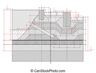 Structural drawing - Detailed architectural section of a...