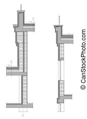 Structural drawing - Detailed architectural section of upper...