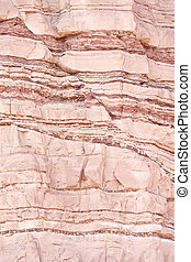 Structural geology fault - Closeup of geological layers in...