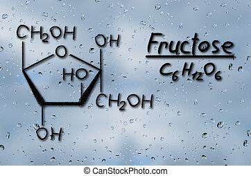 Structural model of Fructose drawn on the glass with raindrops