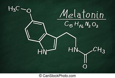 Structural model of Melatonin on the blackboard.