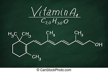 Structural model of Vitamin A1 (retinol) on the blackboard.