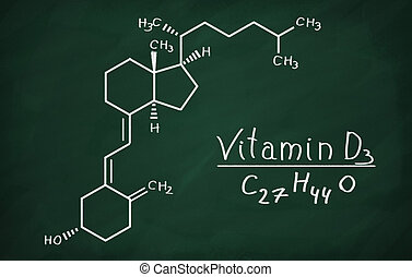 Structural model of Vitamin D3 molecule on the blackboard.