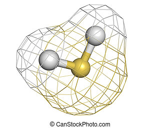 structure., 分子, ガス, 化学物質, (h2s), sulfide, h, 有毒, 水素