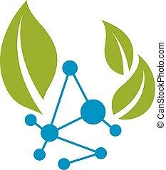 structure., 比喩, homeopathy., 概念, 葉, 分子, イラスト, 化学物質, ベクトル, 緑,...