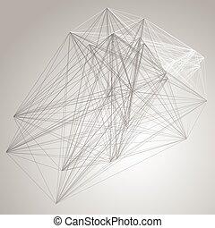 structure., abstratos, grayscale, conexão, fundo, tecnologia