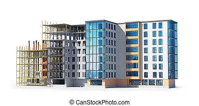 structure bâtiment, construction., illustration, 3d