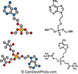 structure., b, (dipivoxil), hepatitis, químico, (hsv), virus...