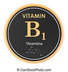 structure., b1, vitamin, chemische , übertragung, thiamine., ikone, kreis, molekular, formel, 3d