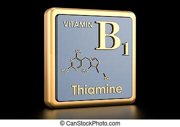 structure., b1, vitamin, chemische , übertragung, thiamine., ikone, molekular, formel, 3d