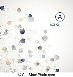 structure., balle, dynamique, concept., molécule, connexion...