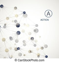 structure., boll, dynamisk, concept., molekyl, anslutning, ...