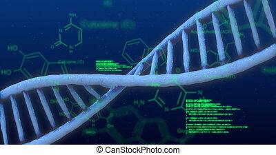 structure, chimique, bleu, données, adn, contre, sur, fond, traitement