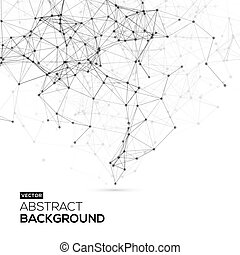 structure., communicatie, abstract, molecule, helder, polygonal, achtergrond., verbinding, vector, laag, achtergrond, poly, witte , technologie, wetenschap
