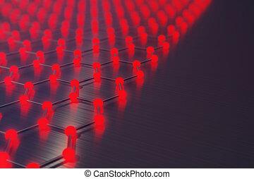 structure., conceito, nanotechnology, forma, graphene, hexagonal, close-up, fazendo, estrutura, atômico, geomã©´ricas, molecular, abstratos, vermelho, 3d