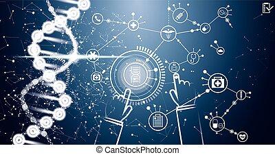 structure., dna., videnskab, medicinsk, molekyle, icons., baggrund, medicin