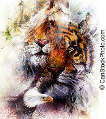 structure., eagle., achtergrond, bruine , sinaasappel, kleur, ornament, abstract, color., tiger, concept, papier, black , dier, ouderwetse , verticaal, oog, contact., witte