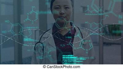 structure, en mouvement, debout, chimique, adn, contre, docteur, hôpital, femme