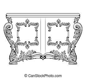 structure., estilo, drawers., real, decoración, francés, ...