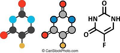 structure., fluorouracil, cancer, chimique, drogue, ...