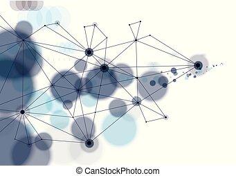 structure., fondo., scienza, astratto, virtuale, sfocato, particelle, luci, vettore, collegato, defocused, 3d, tecnologia, texture., rotondo, maglia