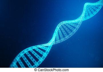 structure., genes., code, adn, points, molécule, molécule, modifié, illustration, particule, genome., concept, humain, numérique, consister, 3d
