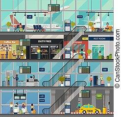 structure, gens, salles, bâtiment, aéroport