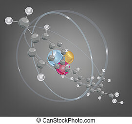 structure, grand, molécule atomique