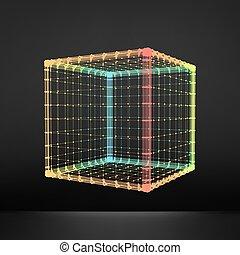 structure., grid., platonic, hexahedron., regolare, elemento, wireframe, 3d, solid., polygonal, grata, collegamento, maglia, cube., convesso, regolare, polyhedron., geometrico, molecolare, element., design.