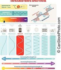 structure., harmfulness, spectrum., eletromagnético, waves:, ilustração, infravermelho, diagrama, frequência, vetorial, onda, comprimento onda